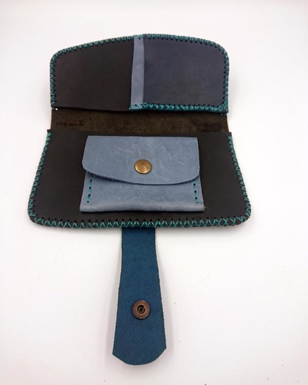 handmade leather long wallet